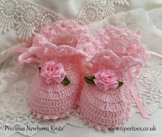 Cotton Crochet Baby Shoes Pattern : Heirloom Quality Thread Crochet Baby Booties Crochet Baby