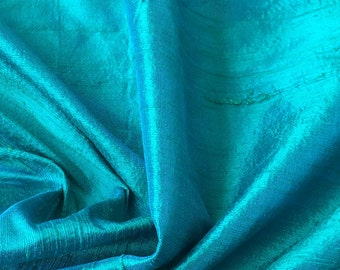 WHOLESALE OFFER 10% OFF - 6 Yards Ocean Blue 100 Percent Pure Silk Dupioni Fabric Wholesale Raw Silk Fabric Indian Silk