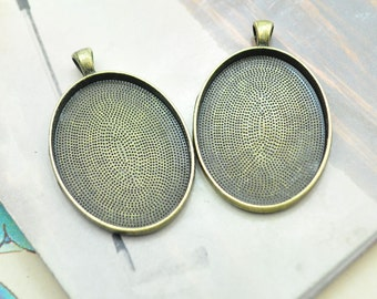 20pcs antique bronze Large oval pendant trays blanks photo frames for 30x40mm cabochon settings