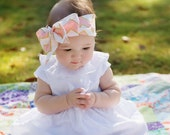 Fabric Bow Headwrap - Pink and Metallic Gold Chevron - Infant Headband - Fabric Headband - Baby Headband - Toddler Headband