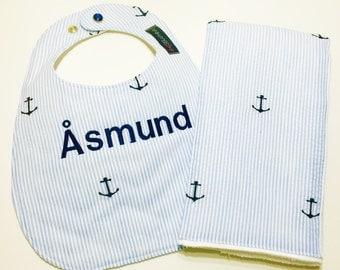 Monogrammed Bib and Burp Cloth Set - Seersucker Nautical - Baby Boy Gift Set  - Anchor Bib - Etsykids Team - Blue and White Seersucker
