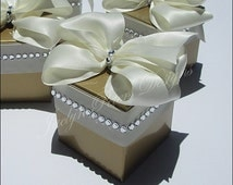 Gold Wedding Favors, 50th Anniversary Party Supply, Elegant Candy Box, Ivory Bow, Silver Rhinestones, Bridal Shower, Custom Color, Set Of 24