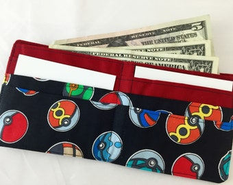 BillFold Mens Wallet Boys Wallet Kids Wallet - Made from Pokemon Fabric - Ready to Ship