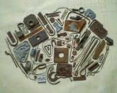 81 Rusty Metal Pieces - Found Objects for Assemblage, Jewelry or Altered Art - Salvaged Supplies - Industrial Salvage
