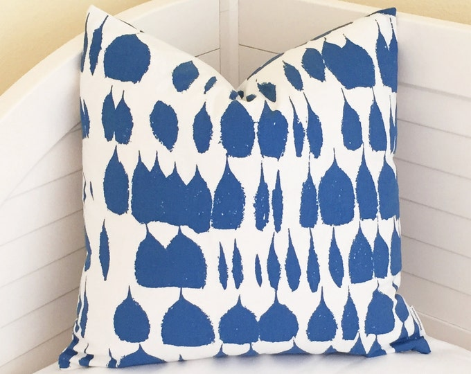 Schumacher Queen of Spain in Water (Both Sides) Designer Pillow Cover - Square, Euro and Lumbar Sizes