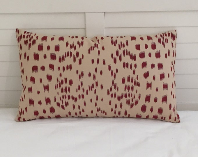 SALE and FREE Shipping -  Pair of Matching Brunschwig and Fils Les Touches in Bordeaux Red Animal Print Designer Pillow Covers