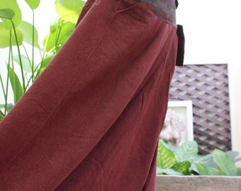 Comfy Roomy Cotton Printed Pants - Red Brown BD15-02