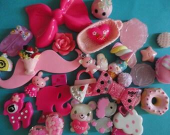 Kawaii decoden phone deco diy cabochon pink bow mix. # 45   more than 30pcs---USA seller