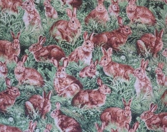 Allover Rabbits in Grass Print Pure Cotton Fabric--By the Yard