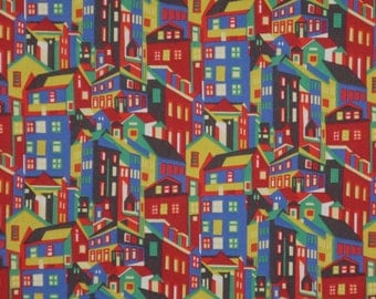 REMNANT--Royal Red and Mustard Gold Abstract Houses Liberty of London Print Pure Cotton Fabrics--33 INCHES
