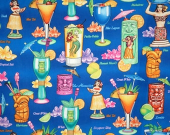 REMNANT--Colorful Tropical Drinks Print on Royal Blue Pure Cotton Fabric--3/4 Yard