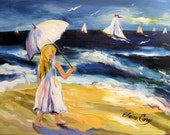 Summer  Beach Day Original Painting home decor oil painting gift for her wall art canvas painting 16 x 20 Art by Elaine Cory