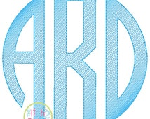 """Natural Circle Sketch Monogram Embroidery Font  3"""", 4"""", 5"""", 6"""", 7"""", & 8"""" INSTANT DOWNLOAD now available"""