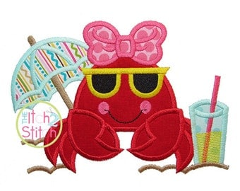 """Beach Crab Applique Design For Machine Embroidery. Shown with our """"One Thing"""" Font NOT Included INSTANT DOWNLOAD now available"""