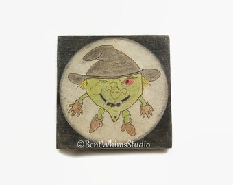 Gremlin Witch Hag Mixed Media Art - On Sale