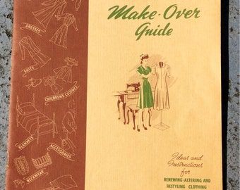 Singer Make Over Guide Vintage Sewing Instruction Book from the 1940s - retro book, retro sewing, singer company, sewing book, 40s sewing