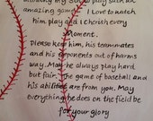 Sports decor Baseball prayer hand painted on canvas
