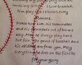 Sports decor Baseball prayer hand painted on canvas
