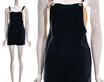 Vintage 90s Black ROMPER Industrial SUSPENDERS Goth Grunge shorts Playsuit Shorts Jumpsuit Cotton short overalls Canvas S M