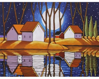 "Art Print by Cathy Horvath 8.5""x11"" Modern Folk Art Giclee, Night Moon Stars, Fall Water Reflection Landscape, Autumn Artwork Reproduction"