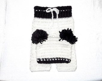 Crochet Baby Pants and Hat Set, White, Black, Newborn, Baby Girl, Baby Boy, Baby Shower,