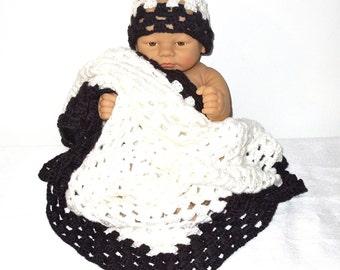 Crochet Baby Blanket, Hat Set, Newborn, Baby Boy, Baby Girl, Black, White, Baby Shower