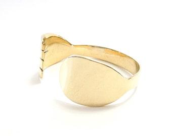 Spork Brass Bracelet, Brass, Mirror  Finished, Women, Men, Teen,