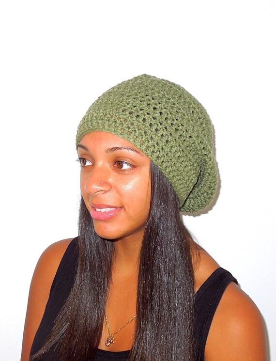 Slouchy Hat, Crochet, Adult, Women,Teen, Men, Green, Fern, Unisex,