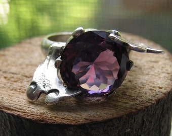 Fine Taxco Mexico Sterling Silver with Lab Created Alexandrite Stone Leaf Design Marked BRV Women's Ladies Size 6 1/2