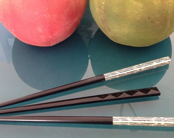 Set of 3 Black & White Hair Sticks