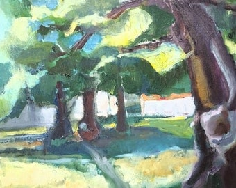 Linden trees - original oil painting on cardboard- 16 x 20 inches- not framed