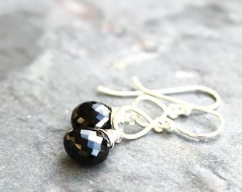 Black Spinel Earrings Sterling Silver Petite Teardrop Black Stone earrings