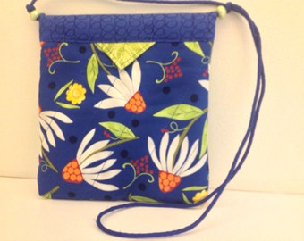 "SALE Floral Blue Snap Bag Purse Handbag Handmade 7-3/4"" x 8-3/4"""