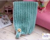 Turquoise and white wool fur crochet hat cute kawaii PULLIP BLYTHE BJD
