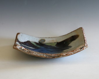 Ceramic Plate with Torn Edges, Sushi Plate, handmade plate, pottery dish, serving dish, ceramics and pottery