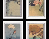 4 Blank Note Cards of Small Birds by Koson gcbs012