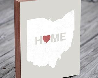 Ohio State - Ohio Art - Ohio State Decor - Home Sign - Wood Block Art Print