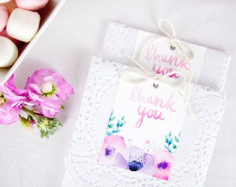 Favour Tags - Watercolour flowers thank you favor tags for first birthday, bridal shower, baby shower - printable floral party decor