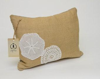 Burlap small rectangular pillow with vintage doily embellishment