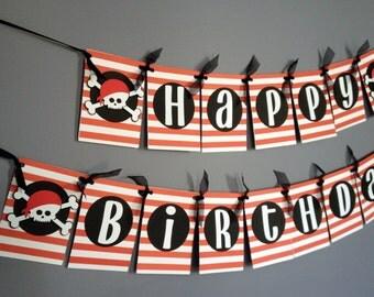 Boys Birthday Banner, Pirate Birthday Decorations, Pirate banner, red black white