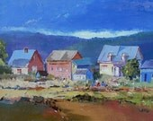 """Canadian painting, Island of Orleans  - Gift, Original oil painting on canvas - Home decor  9"""" X 12"""""""