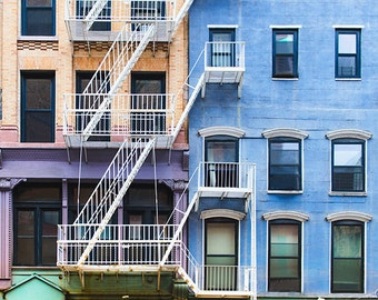 Art, Photography, City, New York City, Street Scene, Colorful City Block, Buildings, Wall Art, Industrial Look, Loft, Home Decor