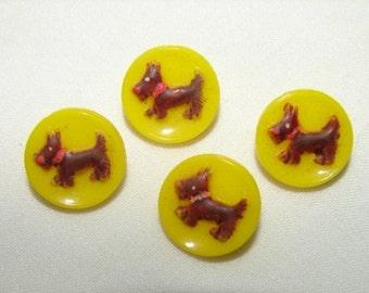 Vintage Glass Scottie Dog Buttons