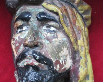 Vintage Wall Bust Sultan Looks Like Chalkware  Very Cool Piece!!