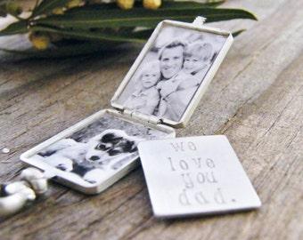 men's key chain / men's photo locket key chain / men's locket brushed sterling silver double photo locket / men's locket
