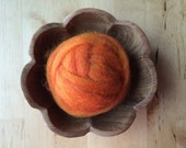 Wool roving supply for needle felting, Pumpkin Orange, 1/2 ounce or 1 ounce