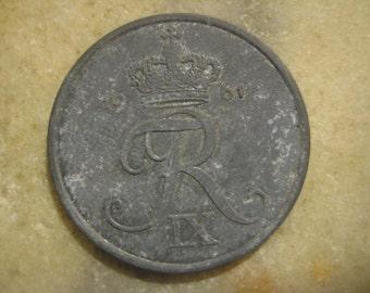 Vintage 1961 Denmark, Zinc  5 Øre Coin - Frederik IX