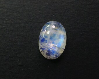 MOONSTONE. Natural. Blue and Rainbow. Natural Stunners. Smooth Oval Cabochon. CALiBrated. Oval. 1 pc. 6.80 cts. 11x14x5 mm (MS446)