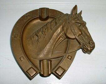 Vintage Horse Head Ashtray Fonderia Bronzi Artistici Italia Made In Italy Horse Shoe Decorative Tray Equine