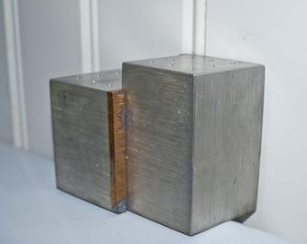 Pewter Salt & Pepper Shakers / J. Route Design / Mid Century